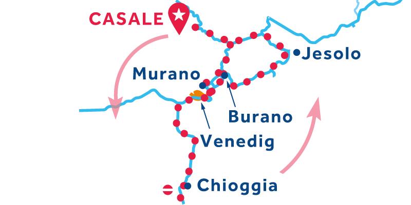 Casale Hin- und Rückfahrt über Venedig Chioggia Lido di Jesolo