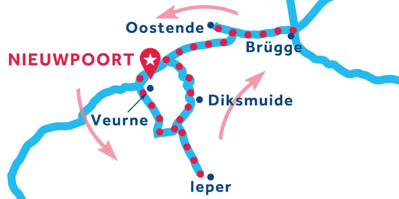 Route Nieuwpoort über Ypres nach Brügge