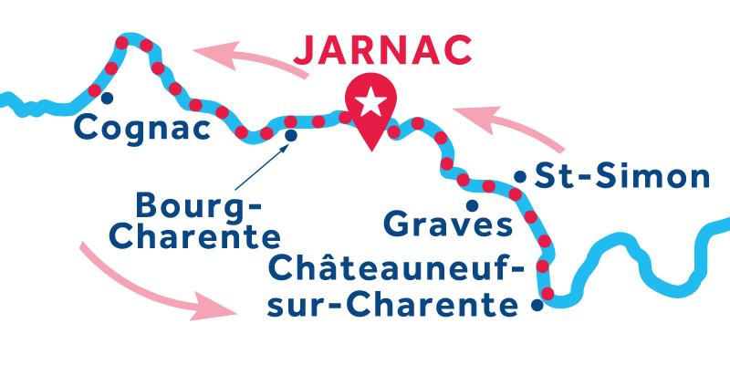 Jarnac RETURN via Cognac & Châteauneuf-sur-Charente