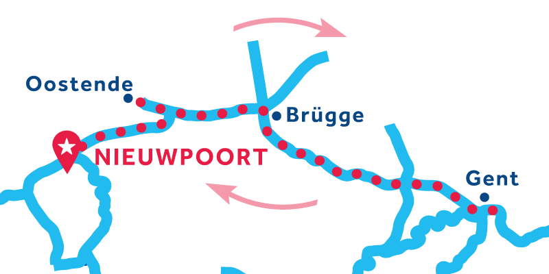 Route von/bis Nieuwpoort über Brügge und Gent