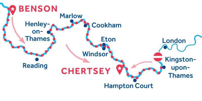 Benson to Chertsey via Kingston-upon-Thames