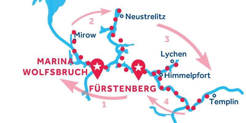 Fürstenberg HIN- UND RÜCKFAHRT über Mirow, Neustrelitz & Templin