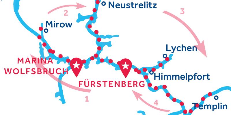 Fürstenberg HIN- UND RÜCKFAHRT über Waren, Neustrelitz & Templin