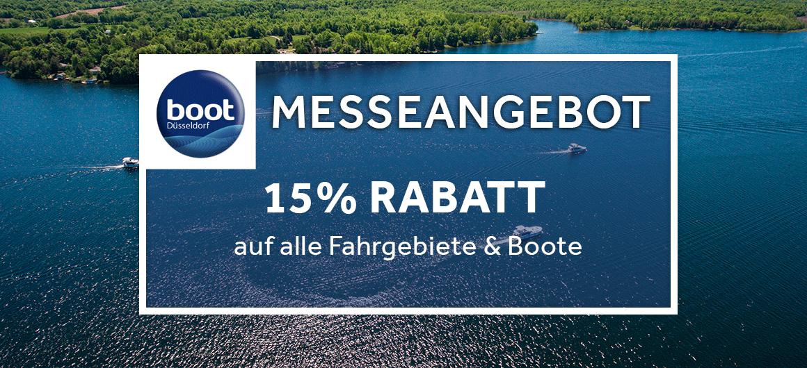 Messeangebot: 15% Rabatt auf alle Fahrgebiete & Boote
