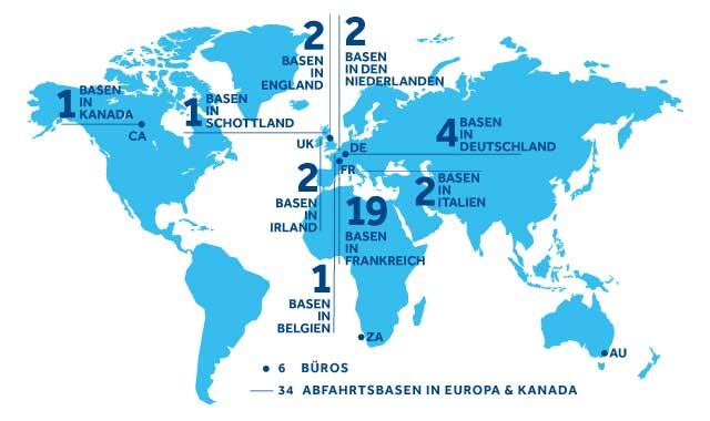 Weltweite Standorte bei Le Boat