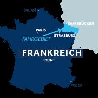 Karte zeigt, wo das Elsass in Frankreich liegt