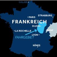 Karte zeigt, wo Burgund Franche-Comte in Frankreich liegt