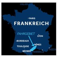 Karte zeigt, wo die Camargue in Frankreich liegt