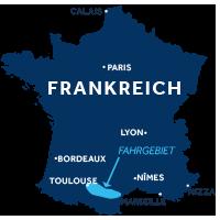 Karte zeigt, wo der Canal du Midi in Frankreich liegt