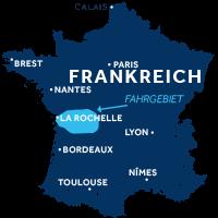 Karte zeigt, wo die Charente in Frankreich liegt