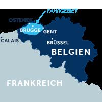 Die Karte zeigt, wo sich die Hausbootregion Flandern in Belgien befindet.