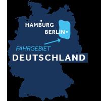 Die Karte zeigt, wo sich die Hausbootregion Mecklenburg & Brandenburg in Deutschland befindet.