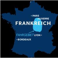 Die Karte zeigt, wo die Region Nivernais & Loire sich in Frankreich befindet.